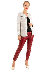 RRP €470 CHARLOTT Knitted Blazer Jacket Size S Textured Exposed Seam Y Neck