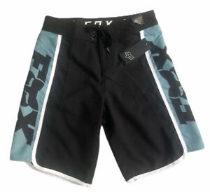 "Boy's FOX RACE TEAM Board Shorts Swim Trunk BLACK/LT BLUE LOGO SZ 14/27"", 16/28"""