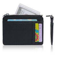 Anti-theft Slim Wallet RFID Front Pocket Wallet with Zipper Card Holder for Men