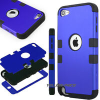 Blue High Hybrid Impact Hard Soft Rubber Case Cover For iPod Touch 6 5th Gen