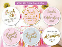 Personalised Wedding Birthday Celebration Stickers Labels Thank you 24 & 35