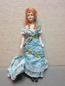 "Vintage Dolls House Miniature Artisan Victorian Lady Doll 5 1/2"" Beautiful Doll"
