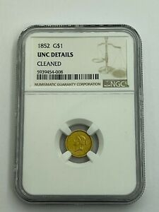 1852 Gold Liberty Dollar G$1 NGC UNC Details - Cleaned - Uncirculated Details