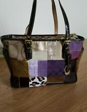 Coach Holiday Patchwork Brown Leather Signature Tote Shopper Bag Shoulder Purse