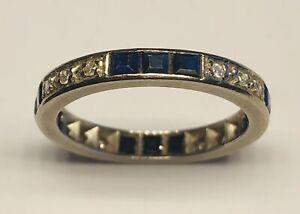 Antique 18k White Gold Sapphire Diamonds Ring Size 6.5