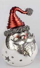 ☼ Formano Windlicht WEIHNACHTSMANN Keramik Metall weiss silber rot 733818