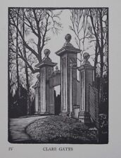 CLARE GATES, LIMITED EDN. CAMBRIDGE COLLEGE WOODCUT PRINT / ETCHING By GREENWOOD