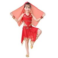 Girls Kids Belly Dance Costume Coins Top Circle Skirt Suit Set Festival Outfits
