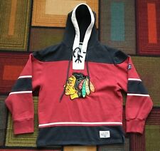 Retro Chicago Blackhawks Old Time Hockey Hoodie Sweatshirt Lace Up SEWN sz M Red