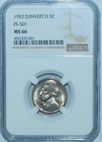 1953 D/D NGC MS66 FS-501 D/Inverted D RPM Repunched Mint Mark Jefferson Nickel
