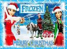 Principessa Disney congelato Elsa Olaf Anna Buon Natale Party GLASSA cake topper