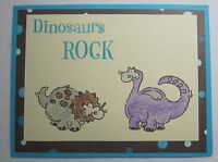 Close to My Heart Handmade card Dinosaurs Rock Invitation Birthday w/envelope