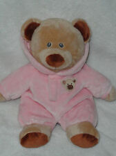 """Ty Pluffies Baby Bear in Pink Pajama Suit w/ Hood Stuffed Bean Bag Toy 11"""""""