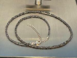 Schwarze Diamantkette Kette Collier 925 Silber V. 45+5cm/ Diamanten ca 20 Carat