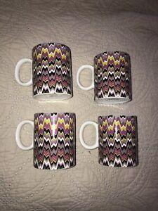 Missoni chevron zig zag stripe Pottery Cups Mugs EUC Four