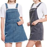 Womens Denim Suspender Skirt Overaller Jeans High Waist Mini Short Dress