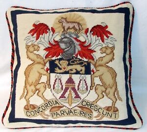Merchant Taylor Coat of Arms Cushion Cover Tapestry  Needlepoint