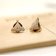 18k Yellow Gold Filled Hypo-Allergenic Black Enamel Fox Pearl Earrings H251