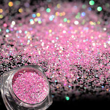 Pink Holographic Laser Glitter Powder for Acrylic Decoration Tips Hexagon Style