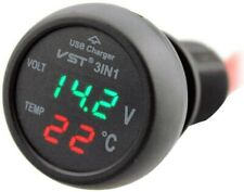 New 3in1 Digital Thermometer Led Voltmeter 21a Usb Car Charger Battery Monitor