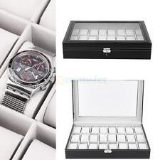 New 24 Slot Watch Box Leather Display Case Organizer Top Glass Jewelry Storage