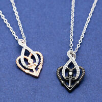 Fashion Two Tone 925 Silver Rose Gold,Black Gold White Sapphire Necklace Pendant