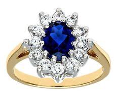 9ct Oro Giallo Grappolo Zaffiro Diamante Sintetico Design Anello di Fidanzamento