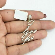 14k Yellow Gold GP 2 Ct Diamond Valentine Women's I LOVE YOU Name Charm Pendant