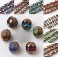 20/40Pcs 8mm 8Colors Bronze Plated Faceted Czech Crystal Loose Spacer Beads