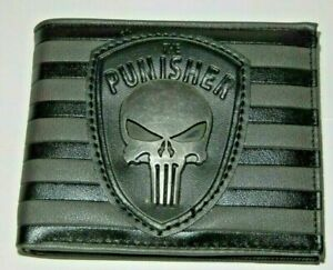 Punisher Themed Mixed Materials BIFOLD WALLET WITH Metal logo