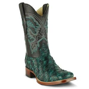 "Men's Los Altos Genuine Pirarucu Fish Western Boots Wide Square Toe 11"" Shaft"