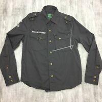 Mens BSHOP DENIM Dark Gray 100% Cotton Military Long Sleeve Button Up Shirt Sz S