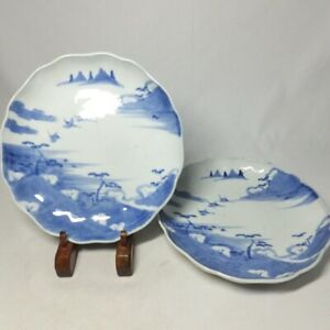 D2307: Japanese pair of plate of OLD IMARI blue-and-white porcelain ware