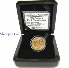 1914 SOVEREIGN KING GEORGE V Perth Mint Gold Coin Unc
