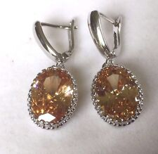 W02 Oval Honey Topaz Silver White Gold Filled Drop Dangle Earrings Plum BOXED