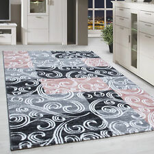 Kurzflor Design Teppich Patchwork Optik Tribal Muster Grau Pink Beige Meliert