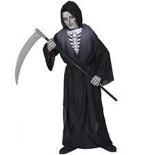 Kinder Sensenmann Kostüm mit 3D Knochenbrust / Halloween Gevater Tod 134/140