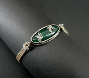 Green Stone Floral with Enamel Oval Two Chain Sterling Silver 925 Bracelet