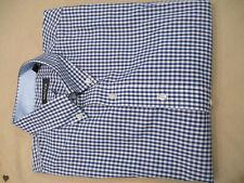 NWT $70 NAUTICA MENS BUTTON DOWN DRESS SHIRT BLUE WHITE CHECK 17 34/35