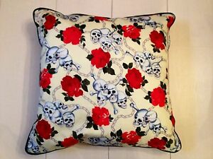 """Hand Made With Love Skull Chain & Rose Design 18"""" Cushion Cover-ONLY 1 AVAILABLE"""