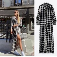 ZARA BLACK & WHITE CHECK LONG PRINTED SUSSY SHIRT DRESS SIZE S SOLD OUT BNWT