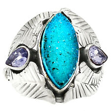 Blue Agate Druzy 925 Sterling Silver Ring Jewelry s.7.5 RR40682