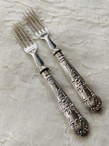 Silver Plated Dessert Forks,  Kings Pattern Handles