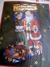 """Christmas Dimensions Holiday Needlepoint Stocking Kit,A PAUSE FOR CLAUS,9115,16"""""""