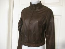 American Eagle Outfitters Brown Leather Bomber Jacket Size XS