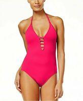 NEW!!! La Blanca Solid Pink Lattice Island Goddess 1-Piece Swimsuit VARIETY
