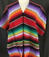 ADULT MEXICAN PONCHO SERAPE SALTILLO COSTUME FIESTA ONE SIZE FITS ALL RED