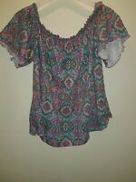 FLORAL BARDOT TOP 16 PRETTY SUMMER TOWIE HOLIDAY CELEB BOHO IBIZA EVENING