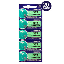 Sony 337 (SR416SW) 1.55V Silver Oxide 0%Hg Mercury Free Watch Battery (20 Pack)
