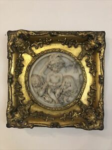 Vintage Alabaster Cherub Putti Wall Plaque Carvers And Gilders Frame